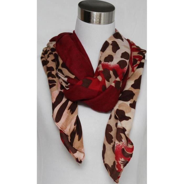foulard femme l opard rouge et marron polyester rouge achat vente echarpe foulard. Black Bedroom Furniture Sets. Home Design Ideas