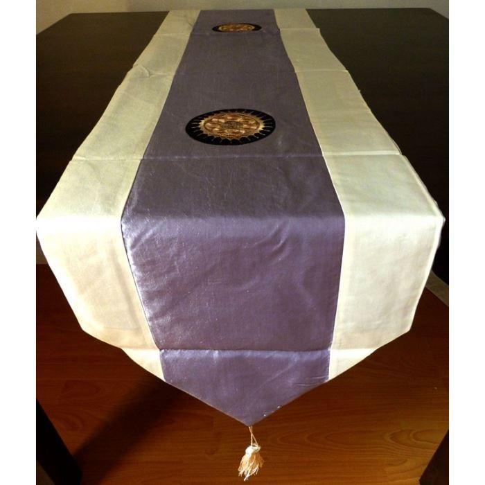 Chemin de table en soie tha 34 x 204 cm gris achat - Chemin de table gris perle ...