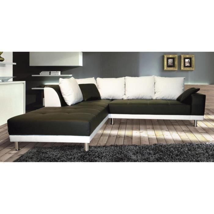 canap d 39 angle design noir et blanc en pu lazio angle. Black Bedroom Furniture Sets. Home Design Ideas