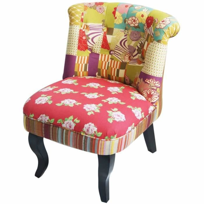 Fauteuil crapaud chambord patchwork achat vente fauteuil bois pin massif - Fauteuil crapaud patchwork ...