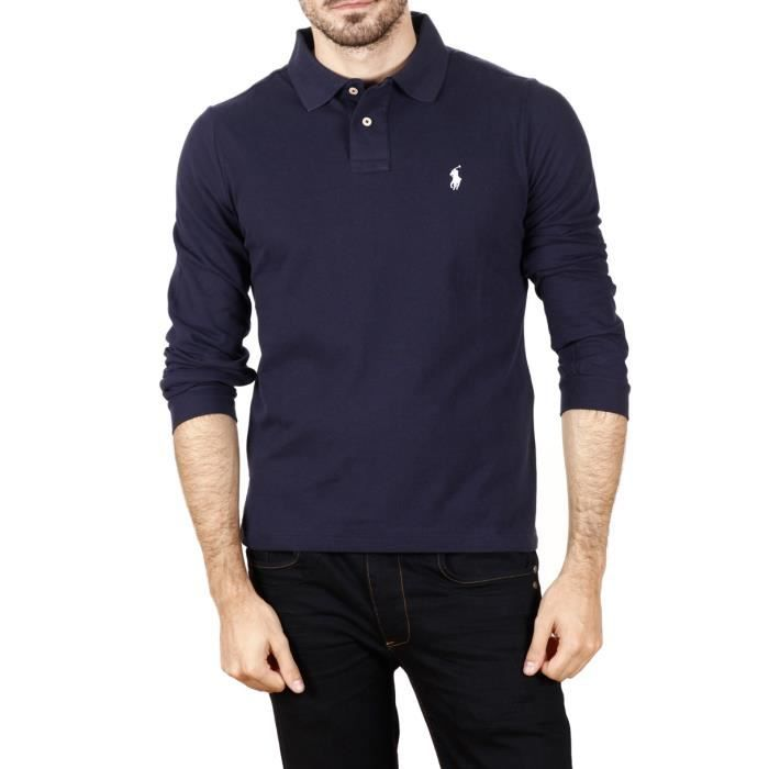 ralph lauren polo homme manches longues navy achat vente polo cdiscount. Black Bedroom Furniture Sets. Home Design Ideas