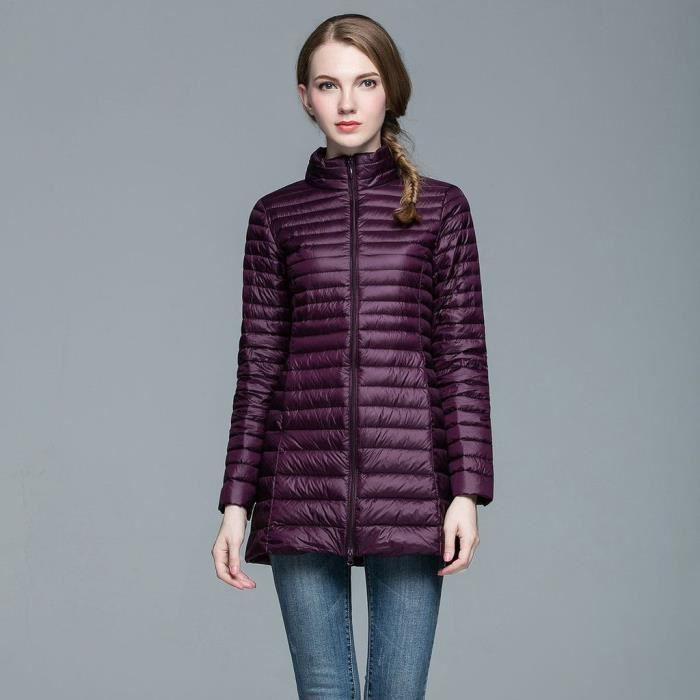 femme mode doudoune l ger v tement chaud manteau d 39 hiver amincissant veste down coat violet. Black Bedroom Furniture Sets. Home Design Ideas