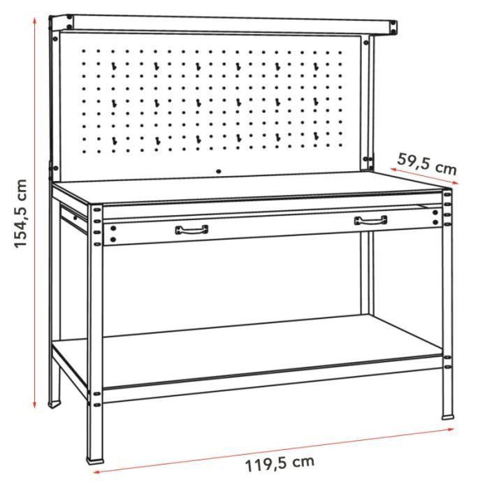 tabli d 39 atelier avec panneau porte outils et tiroir achat vente etabli meuble atelier. Black Bedroom Furniture Sets. Home Design Ideas