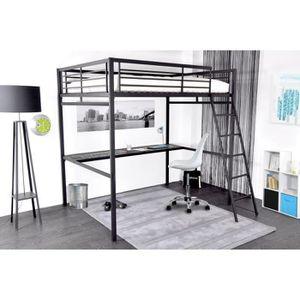 Lit mezzanine 140 achat vente lit mezzanine 140 pas for Lit mezzanine 140 avec bureau