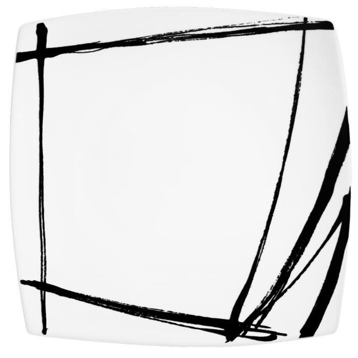 table passion plat carre noir 31 cm porcelaine decor expression achat vente plat de. Black Bedroom Furniture Sets. Home Design Ideas