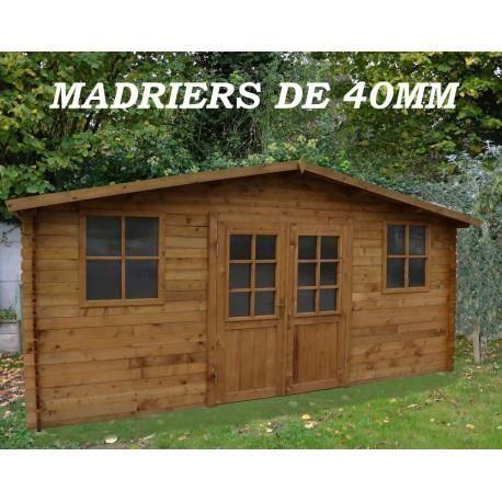 Abri de jardin 16m en bois 40mm autoclave teint marron gardy shelter achat vente abri for Abri de jardin en bois destockage