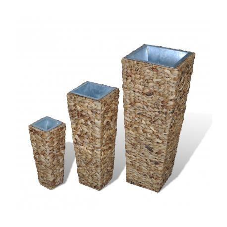 cache pot de fleur en rotin jacinthe d 39 eau carr lot de 3. Black Bedroom Furniture Sets. Home Design Ideas