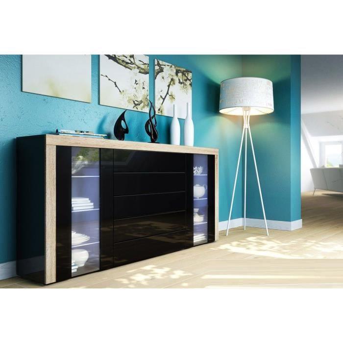 buffet enfilade vitr noir noir et bois brut achat. Black Bedroom Furniture Sets. Home Design Ideas