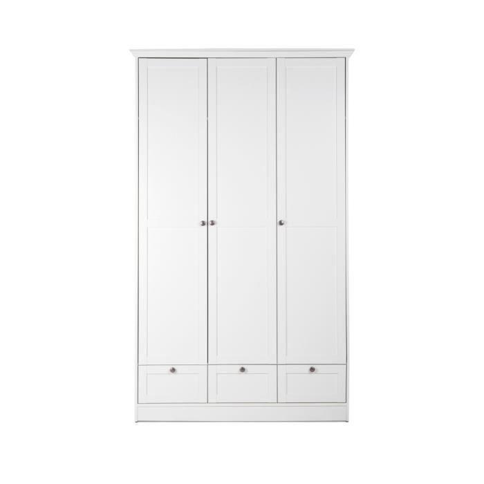 armoire pour chambre chalet en blanc 120 x 200 x 51 cm achat vente armoire de chambre. Black Bedroom Furniture Sets. Home Design Ideas