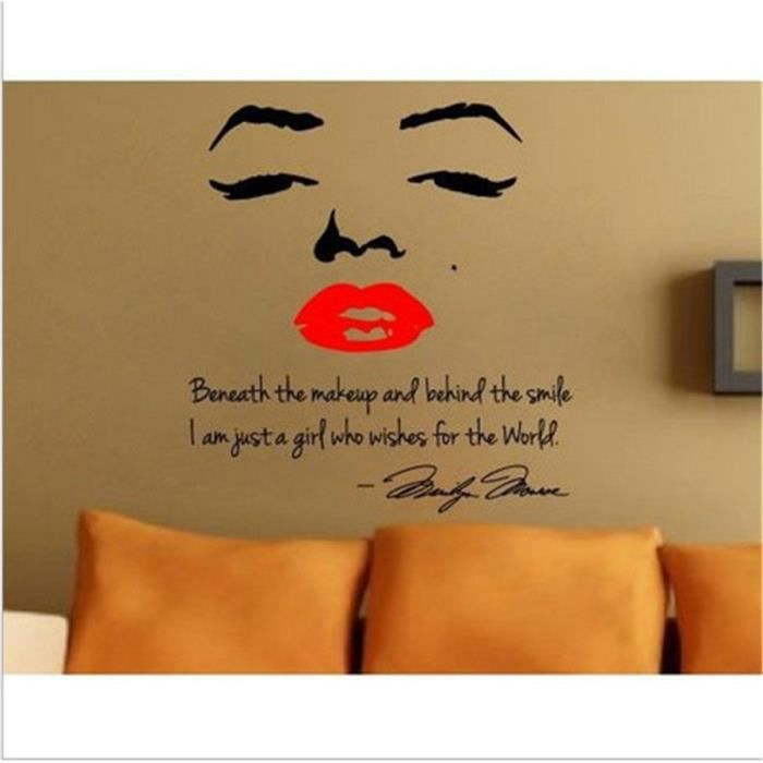 Sticker mural marilyn monroe citation de l 39 art cal d cor de vinyle bricol - Papier peint maryline monroe ...