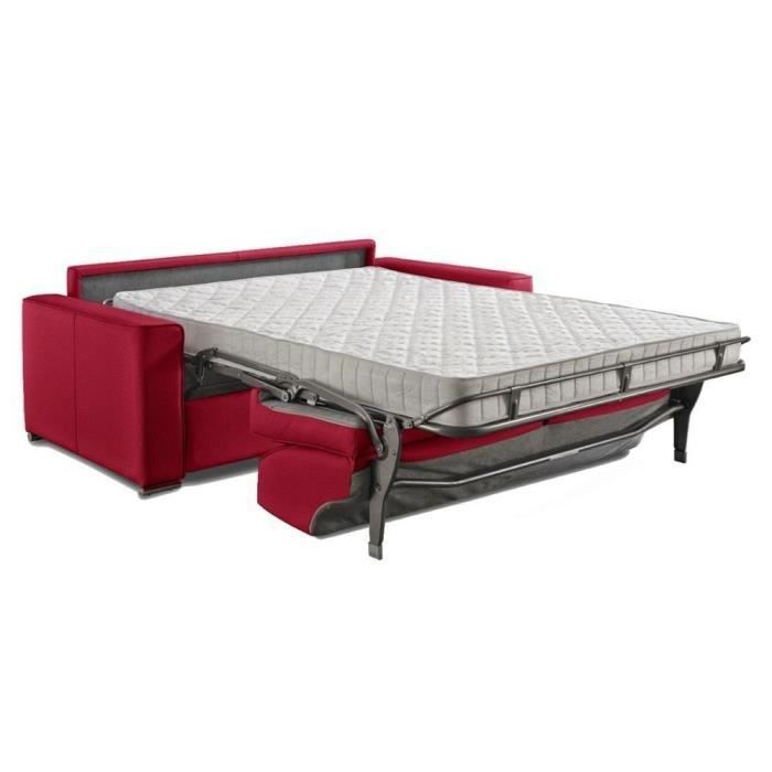 Canap convertible rapido premium 140 cm cuir co rouge sommier lattes lampol - Canape convertible rapido fly ...