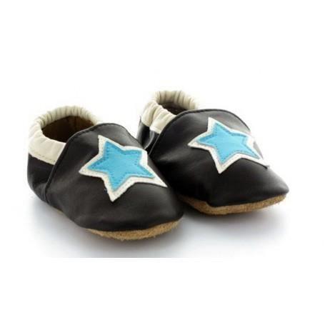 chaussons b b en cuir souple noire noir achat vente chausson pantoufle cdiscount. Black Bedroom Furniture Sets. Home Design Ideas