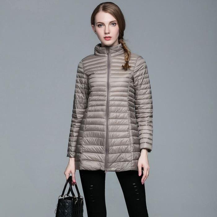 femme mode doudoune l ger v tement chaud manteau d 39 hiver amincissant veste down coat kaki. Black Bedroom Furniture Sets. Home Design Ideas
