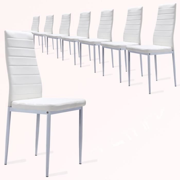 Lot de 8 chaises de salle manger blanc achat vente chaise acier inoxyda - Chaise salle a manger blanc ...