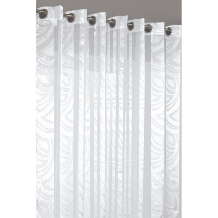 rideau voilage grande dimension au motif vagues achat vente rideau polyester cdiscount. Black Bedroom Furniture Sets. Home Design Ideas