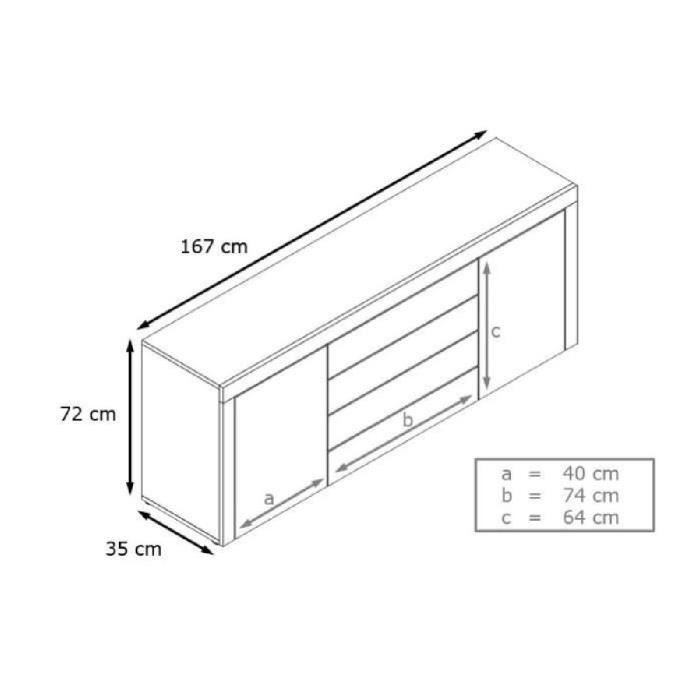 bahut design laqu blanc et noir achat vente buffet. Black Bedroom Furniture Sets. Home Design Ideas