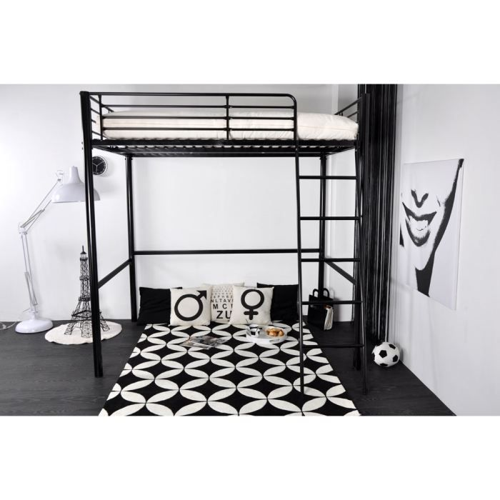 rock lit mezzanine 140x190cm noir achat vente lits superpos s rock lit mezzanine 140cm m tal. Black Bedroom Furniture Sets. Home Design Ideas