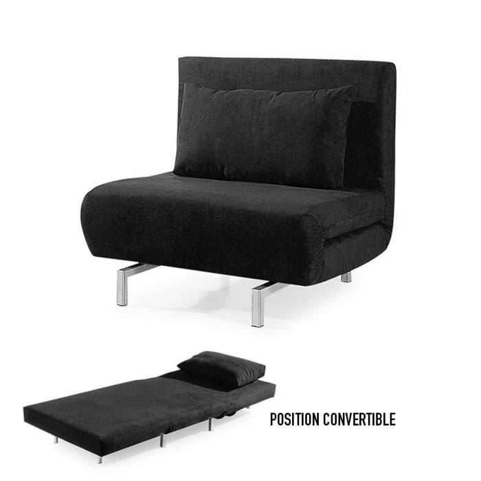 fauteuil convertible obadia en tissu noir achat vente fauteuil cdiscount. Black Bedroom Furniture Sets. Home Design Ideas