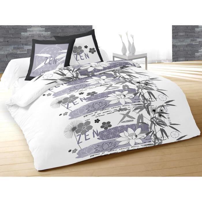 parure housse de couette 240x220 cm zen zen gris achat. Black Bedroom Furniture Sets. Home Design Ideas