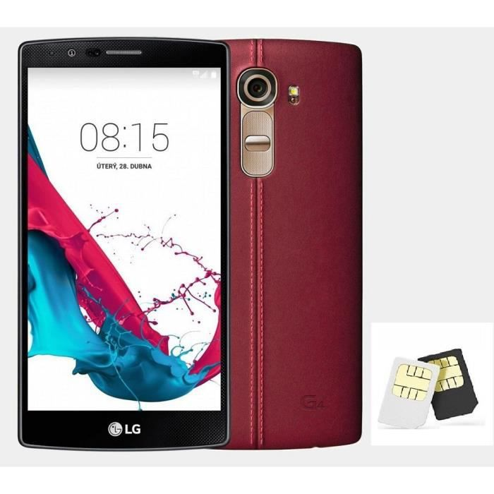 lg g4 h818p 32gb dual sim leather red achat smartphone. Black Bedroom Furniture Sets. Home Design Ideas