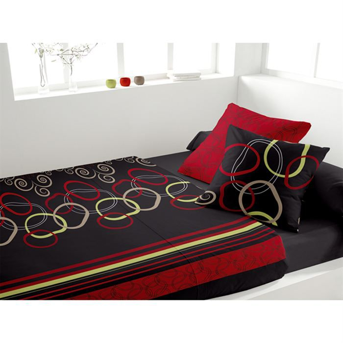 parure de lit shine rouge achat vente parure de lit cdiscount. Black Bedroom Furniture Sets. Home Design Ideas
