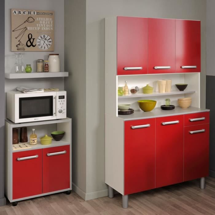 buffet desserte de cuisine rouge brillant timy achat vente buffet de cuisine buffet. Black Bedroom Furniture Sets. Home Design Ideas
