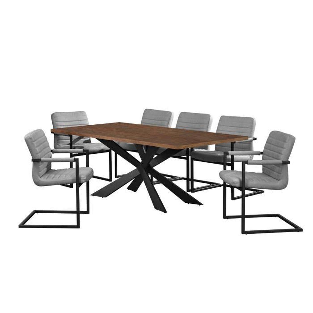 Table de salle manger noix avec 6 chaises - Table de cuisine avec chaises ...