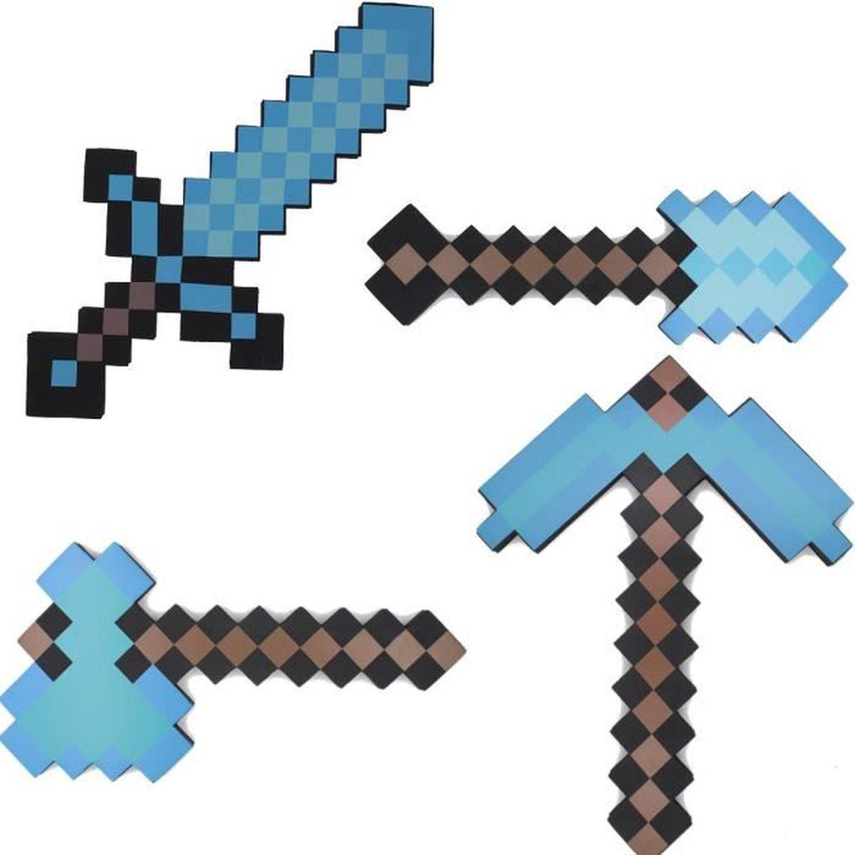 Minecraft outils armes p e pioche 4 pi ces fille cadeau - Minecraft outils ...