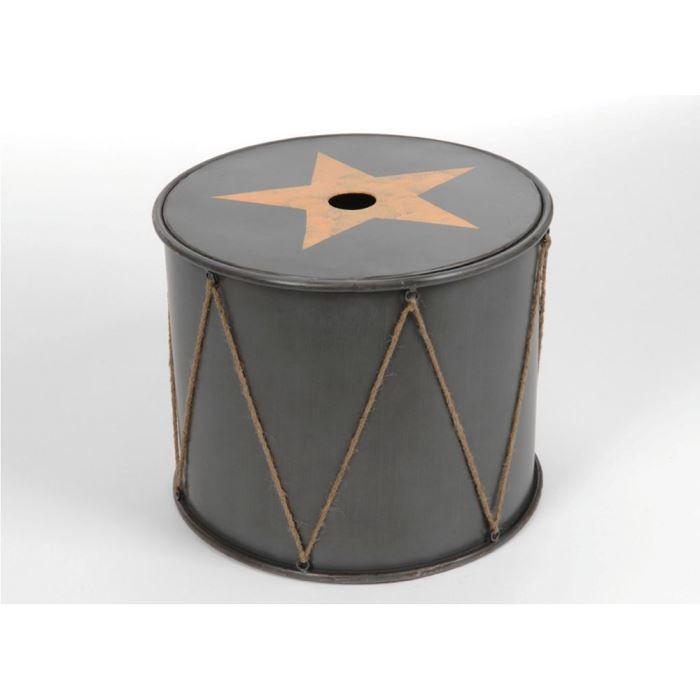 Table basse coffre tambourin en m tal 50x41cm achat for Table basse et haute a la fois