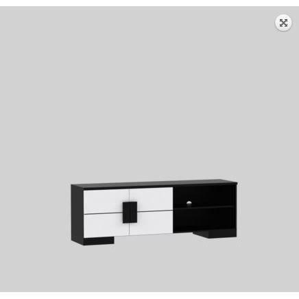 Meuble tv bas noir blanc mat 158cm achat vente meuble - Meuble tv noir mat ...