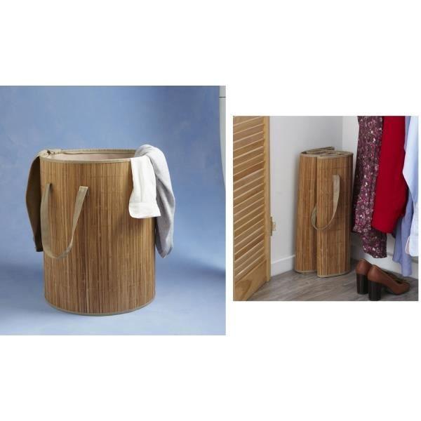 panier linge pliable en bambou achat vente panier a linge panier linge pliable en. Black Bedroom Furniture Sets. Home Design Ideas