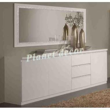 Bahut 3 portes 3 tiroir roma croma blanc achat vente for Miroir pour dessus de bahut