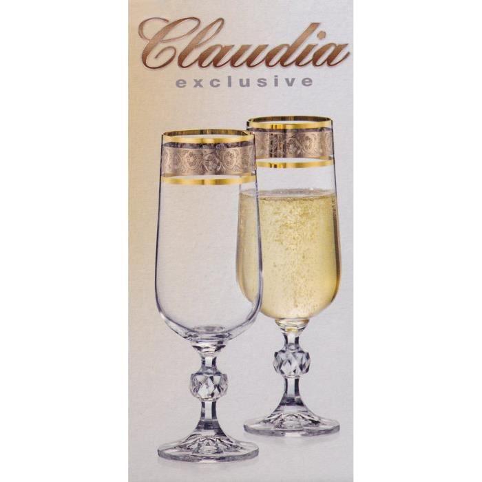 cristal set de 6 verres flutes champagne achat vente champagne cristal set de 6 verres flu. Black Bedroom Furniture Sets. Home Design Ideas