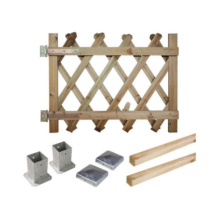 Portillon kit en bois prunus 100 fixer achat vente for Prix portillon bois