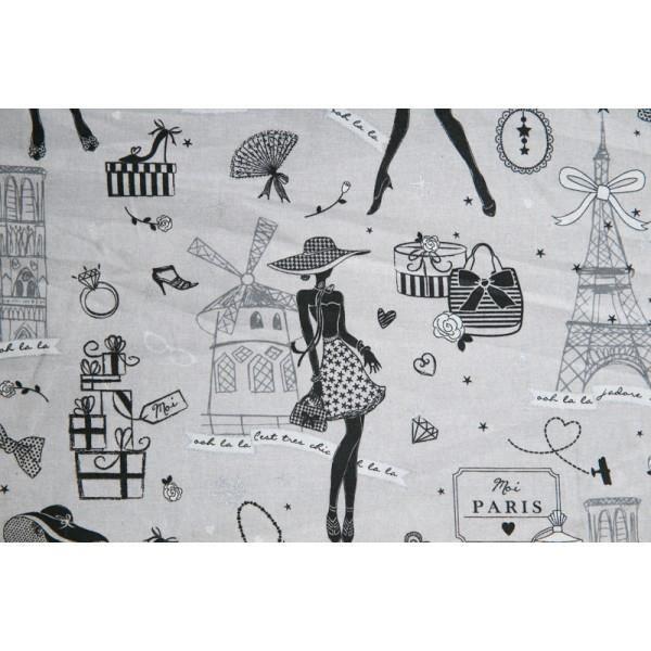 tissu imprime la parisienne de st germain lg 1m40 couleurs argent conditionnement au. Black Bedroom Furniture Sets. Home Design Ideas