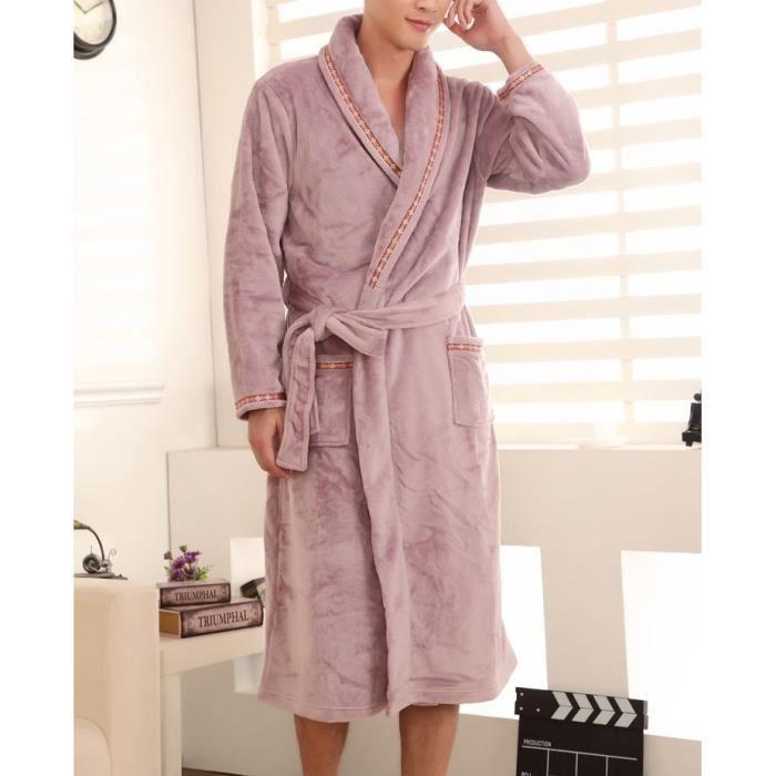 peignoir homme polaire violet clair achat vente peignoir cdiscount. Black Bedroom Furniture Sets. Home Design Ideas
