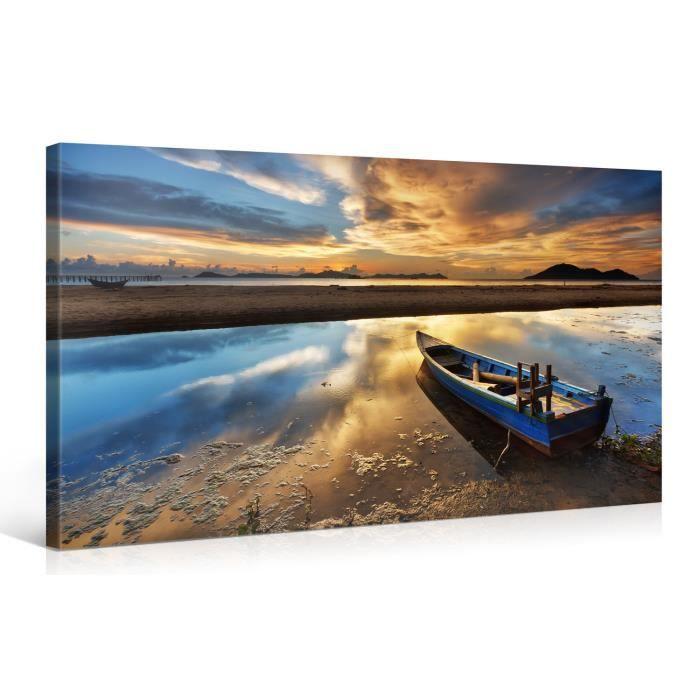Tableau sur toile asie sunset 100x50cm achat vente for Tableau impression sur toile