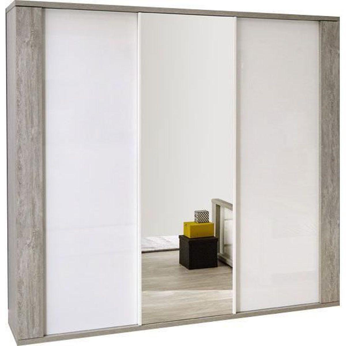 Armoire contemporaine clair e avec 3 portes coulissantes 220 cm coloris valo - Armoire contemporaine portes coulissantes ...