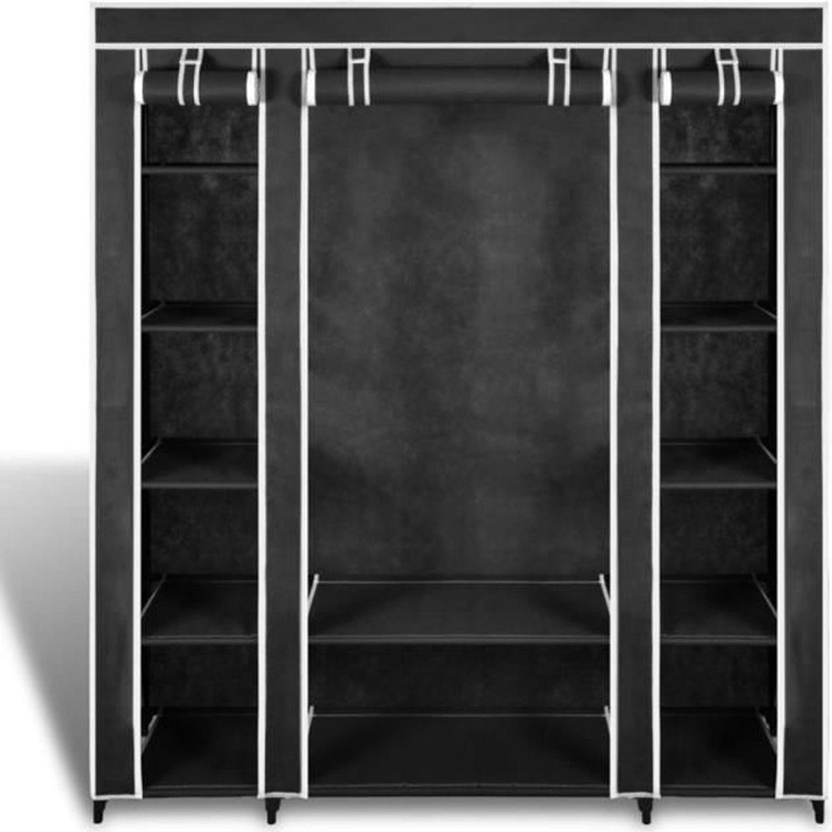 Finether armoire de rangement penderie de v tement pliable en toile noir 160 - Cdiscount armoire de rangement ...