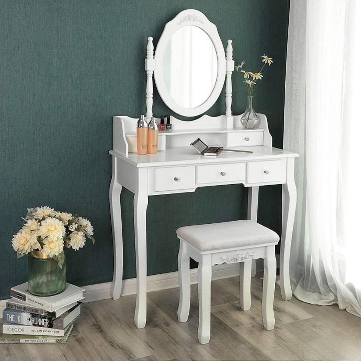 songmics coiffeuse table blanche de maquillage avec miroir 5 tiroirs s parations pour tiroirs. Black Bedroom Furniture Sets. Home Design Ideas
