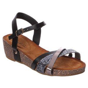 sandales petit talon femme achat vente pas cher cdiscount. Black Bedroom Furniture Sets. Home Design Ideas
