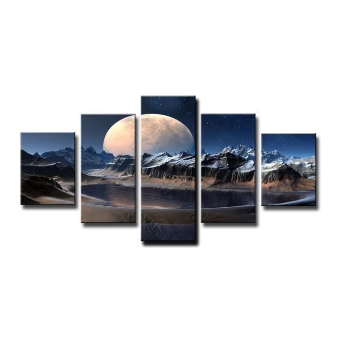 Tableau moderne imprim 160x80 cm lune achat vente tableau toile toil - Vente tableau moderne ...