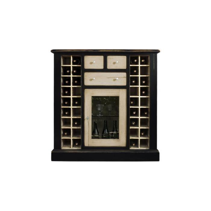 meuble bar cave vins ch ne noir cr me 36 cases 1 porte 3 tiroirs achat vente meuble bar. Black Bedroom Furniture Sets. Home Design Ideas