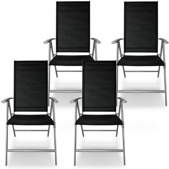 Lot De 4 Chaises De Jardin Pliantes En Aluminium G Achat