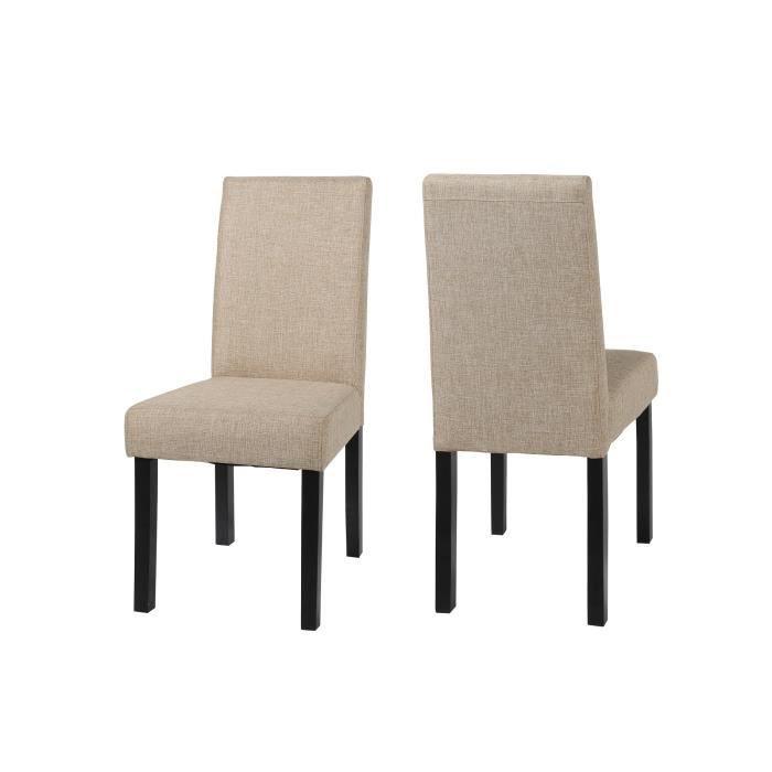 Lot de 2 chaises salle manger jenny en tissu achat for Chaise de salle a manger confortable