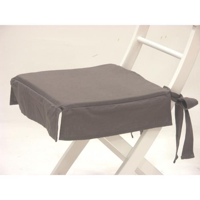 Galette de chaise 20 java anthracit achat vente - Galette de chaise avec rabat ...