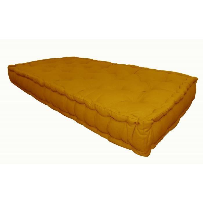 matelas de sol coton 60x120x15cm moutarde achat vente coussin matelas de sol les soldes. Black Bedroom Furniture Sets. Home Design Ideas