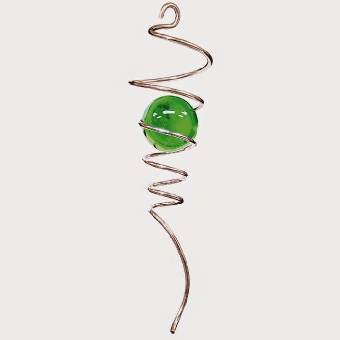 Tige spirale argent e avec boule verte de iron achat for Decoration jardin spirale