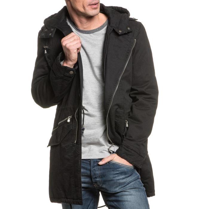 parka styl noir long capuche pour homme noir achat vente parka cdiscount. Black Bedroom Furniture Sets. Home Design Ideas