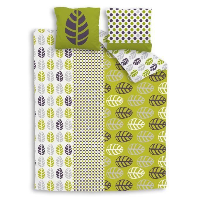 parure de lit vert et anis esprit nature en pur coton bilou vert achat. Black Bedroom Furniture Sets. Home Design Ideas